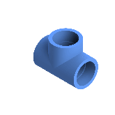 AGRU PE100 T-stuk Perslucht 90° d50 Moflas PN16 Blauw 22056005007