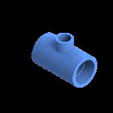 AGRU PE100 Verloop t-stuk Perslucht 90° d50 -d25 -d50 Moflas PN16 Blauw 22055502507