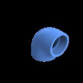 AGRU PE100 Knie Perslucht 90° d75 Moflas PN16 Blauw 22051007507