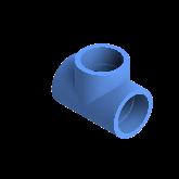 AGRU PE100 T-stuk Perslucht 90° d63 Moflas PN16 Blauw 22056006307