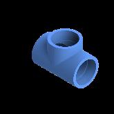 AGRU PE100 T-stuk Perslucht 90° d75 Moflas PN16 Blauw 22056007507