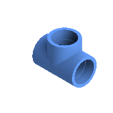 AGRU PE100 T-stuk Perslucht 90° d90 Moflas PN16 Blauw 22056009007