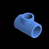 AGRU PE100 Verloop t-stuk Perslucht 90° d50 -d40 -d50 Moflas PN16 Blauw 22055504007