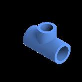 AGRU PE100 Verloop t-stuk Perslucht 90° d25 -d20 -d25 Moflas PN16 Blauw 22055252007