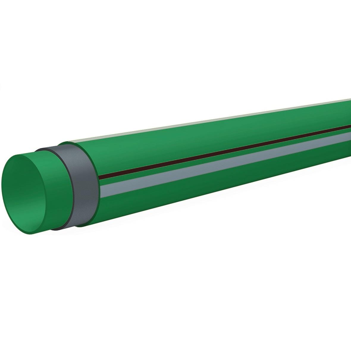 B'R Climatec PP-RCT /GLASVEZEL Buis Groen + grijze/rode streep d110x10mmx4m PN16/SDR11 7FC4144011