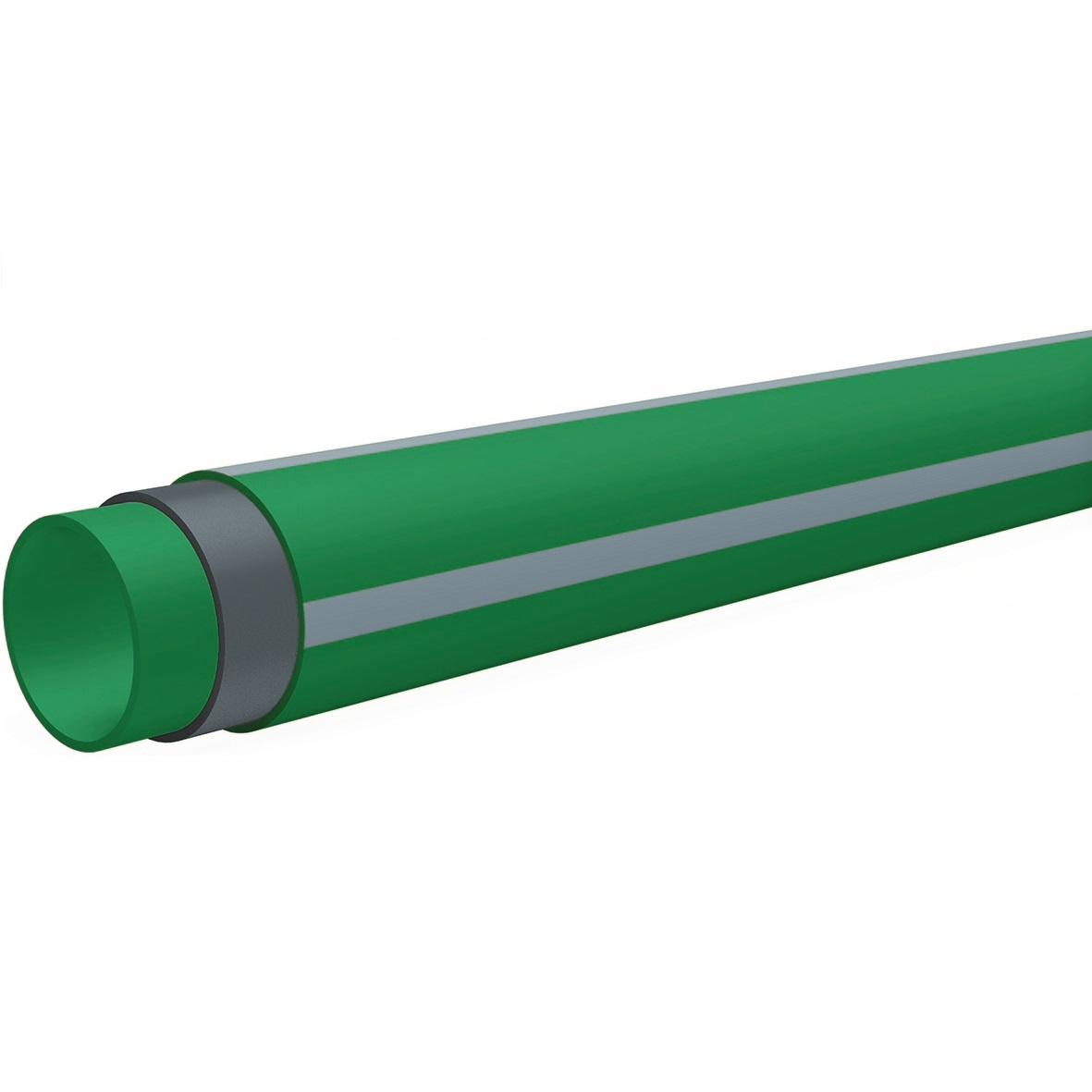 B'R Watertec PP-RCT /GLASVEZEL Buis Groen + grijze streep d110x12,3mmx4m PN20/SDR9 7FW3144011