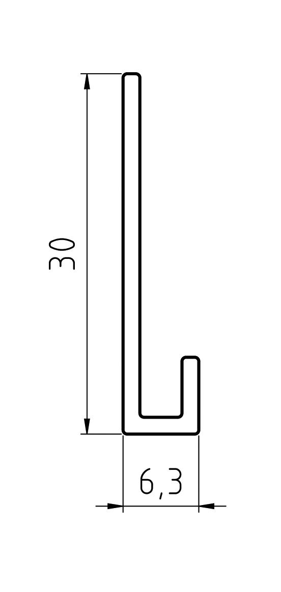 Gevelit Aluminium Startprofiel Geanodiseerd Horizontaal l=4m