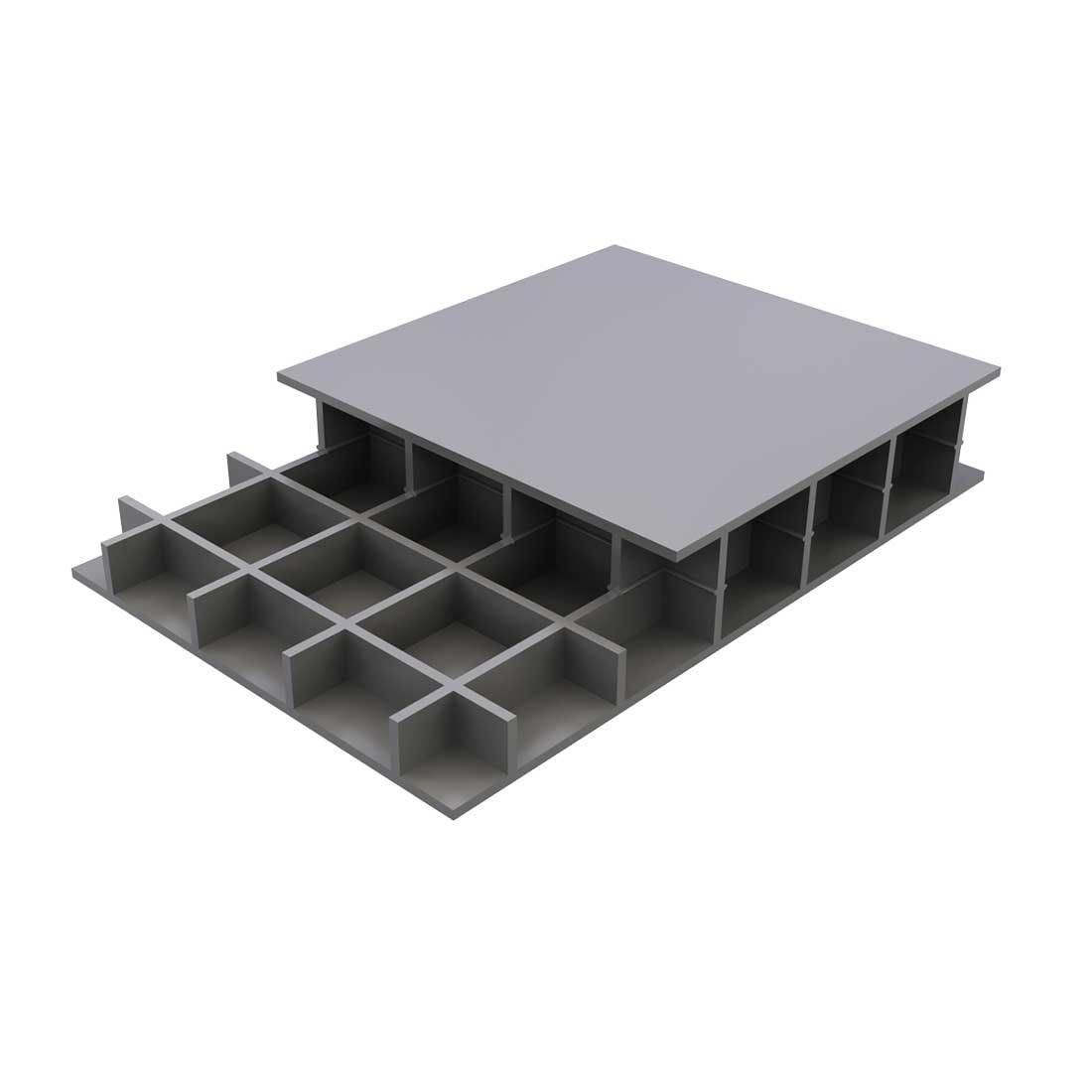 Paneltim PP Constructieplaat 50/100 Uv Grijs RAL7032 1200x1000x20mm