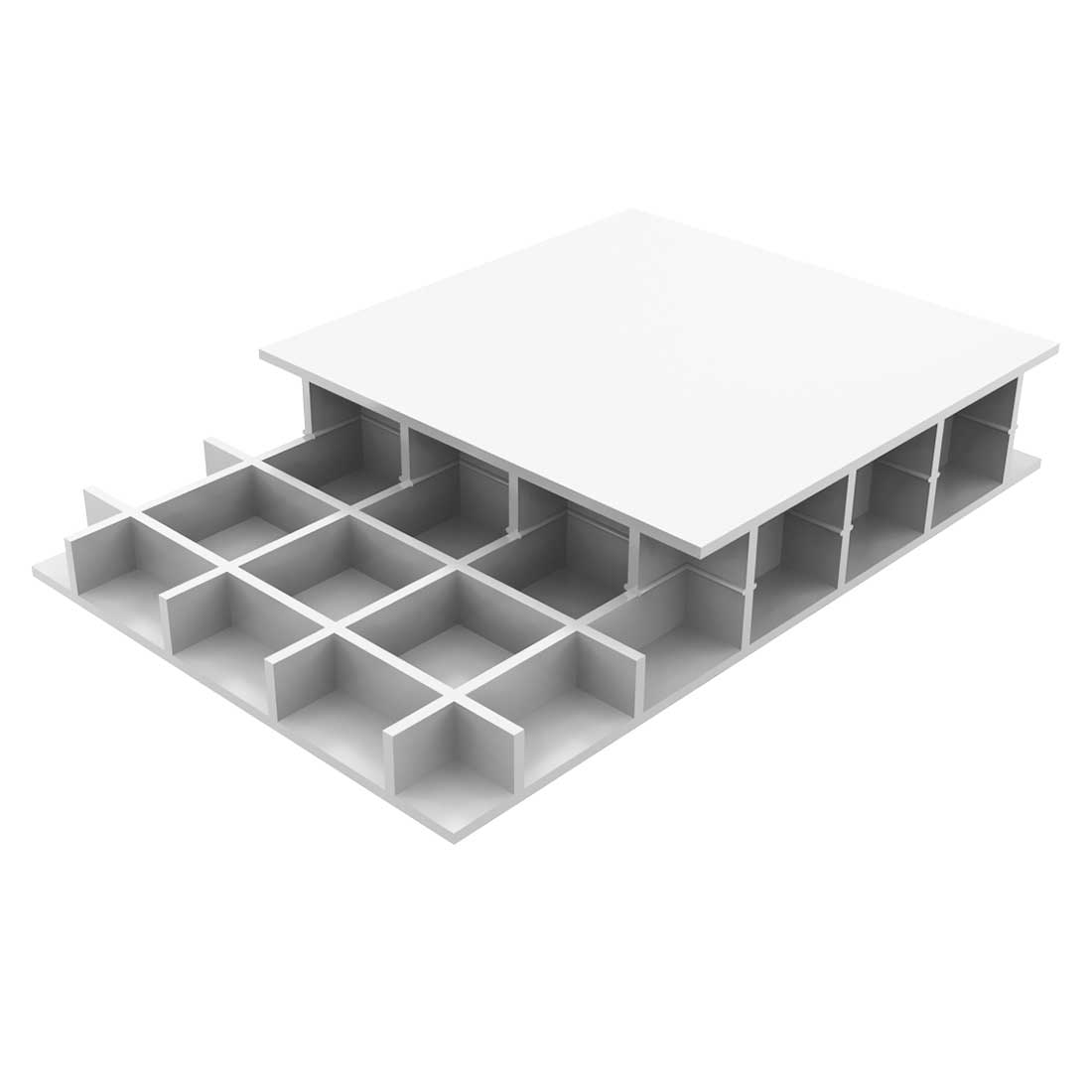 Paneltim PP Constructieplaat 50/100 Uv Wit RAL9010 1200x1000x20mm